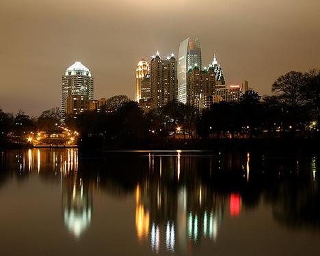 Midtown Atlanta from Piedmont Park at night