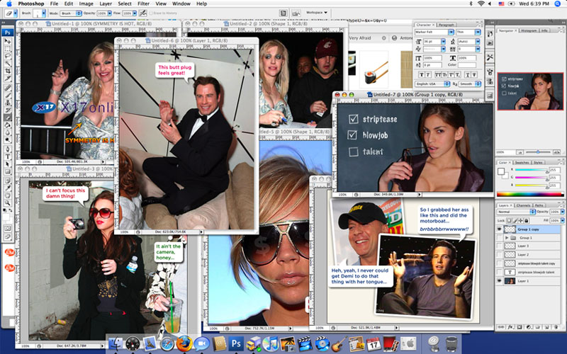 Celebrity Hack Photoshop workspace