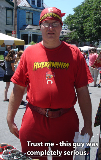 A weirdo wearing a Hulkamania outfit at the Portland festival. He was totally serious, too.