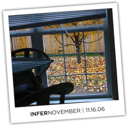 InferNovember, a montage of yellow leaves on the ground during a rainy day at Pearsonified