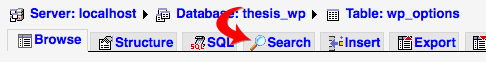 phpMyAdmin Search tab