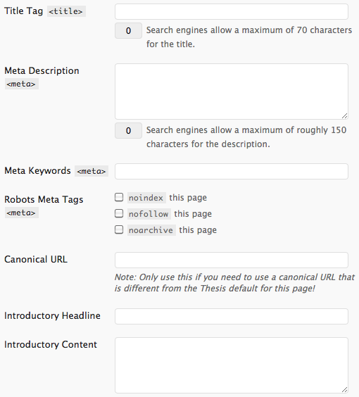 Thesis category SEO controls for WordPress